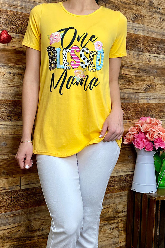 DLH8907-1 ONE BLESSED MAMA printed yellow t-shirt