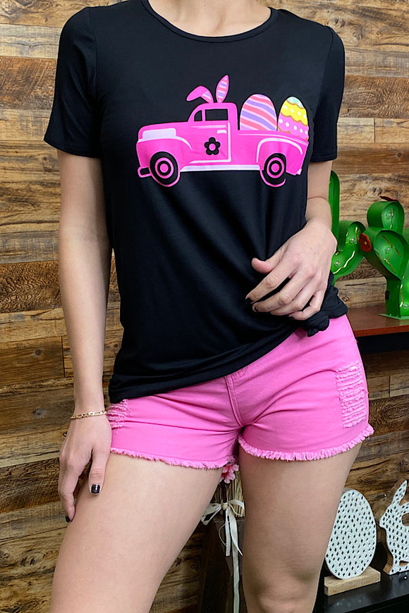 DLH8909 Easter bunny truck w/eggs printed black t-shirt