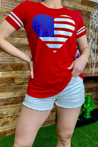 DLH8918 Red heart USA flag printed short sleeve top