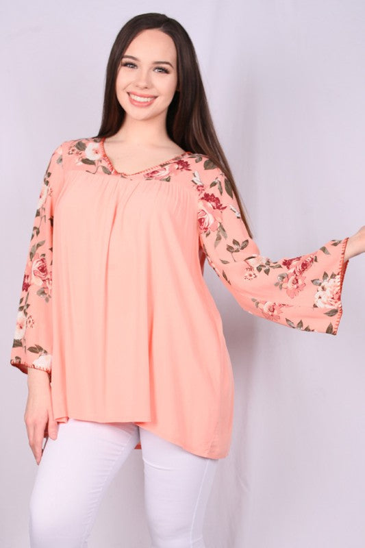 YT1045 Floral pritned sleeves and neck part women top