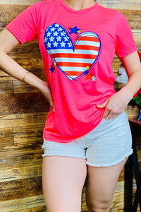 DLH9061 Neon pink American flag heart printed t-shirt