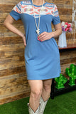 GJQ9134 Blue /Aztec short sleeve dress w/pockets
