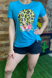 DLH7310 Leopard printed baseball graphic t-shirt