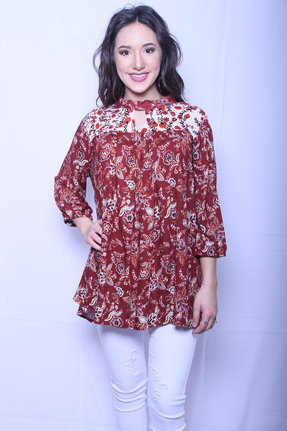 FW3588 Floral patchwork top