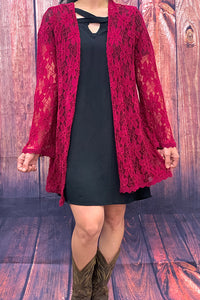 FW4246 Burgundy lace long sleeve cardigan
