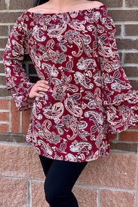 GJQ4511 Long bell sleeve off the shoulders paisley printed blouse