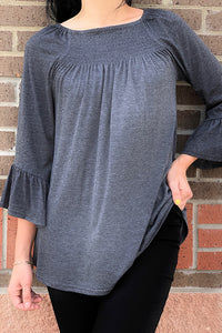 GJQ6112-3 Solid grey 3/4 ruffle sleeve top