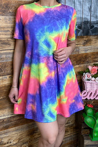 GJQ8863 Multi-color tie dye short sleeve dress w/pockets