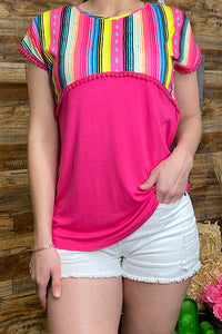 GJQ9149 Fuchsia/serape short sleeve top w/pompoms