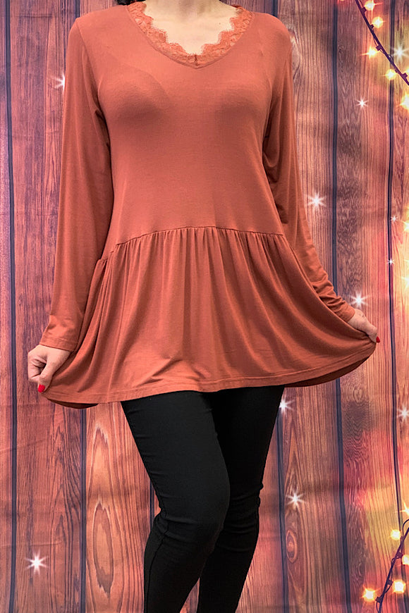 YT1145-2 Solid rust long sleeve top w lace neckline