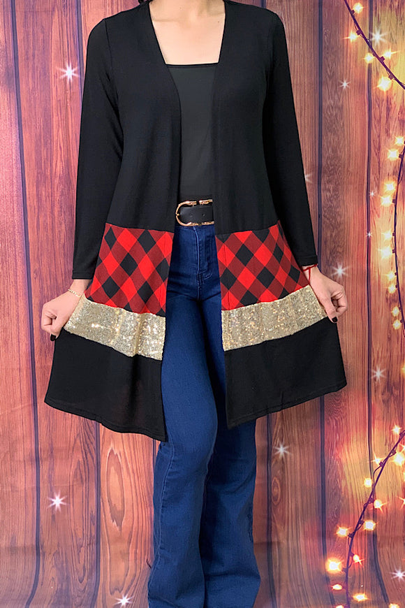 GJQ6498 Black color block cardigan w sequin