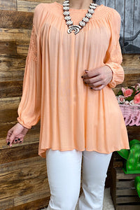 DQ2044 Solid peach blouse w embroidery details