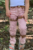 PINK TIE DYE DENIM PANTS. KZ-950455-PINK