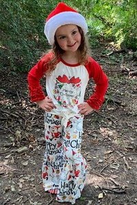"MERRY CHRISTMAS"" GRAPHIC KNOT TOP WITH MATCHING BELL PANTS. YW-OF2020-335"