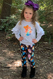 GRAY RUFFLE SLEEVE SWEATSHIRT W/GHOST PRINTED LEGGINGS. CXCKTZ-401097