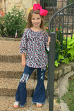 3/4 SLEEVE LEOPARD PRINTED TUNIC WITH DENIM BELL PANTS. CKTZ-012868