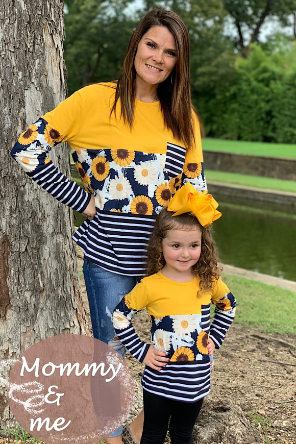 MOMMY & ME YELLOW & NAVY LONG SLEEVE TOP WITH SUNFLOWER PRINT.  CXSY-580956