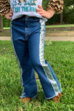DARK BLUE DENIM PANTS W/ SEQUINS SIDE STRIPE. KZ-950432