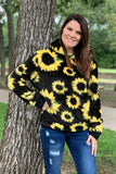 SUNFLOWER PRINTED SHERPA SWEATSHIRT WITH HOODIE. CXSY-505001