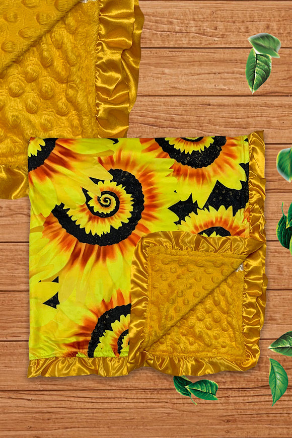 SUNFLOWER SWIRL PRINTED BABY BLANKET. MT-500112