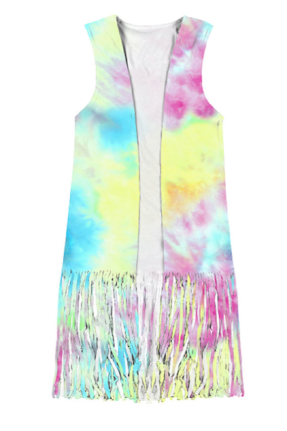 PINK TIE DYE PRINTED CARDIGAN WITH FRINGE. KS-DLH4514K