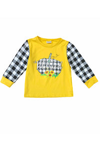 YELLOW TOP WITH BLACK & WHITE CHECKER PRINTED PUMPKIN & SLEEVES. CXSY-540640
