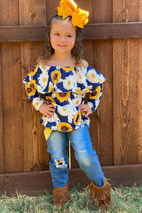 SUNFLOWER PRINTED OFF SHOULDER TOP WITH CUTE DENIM PANTS. CXCKTZ-580944