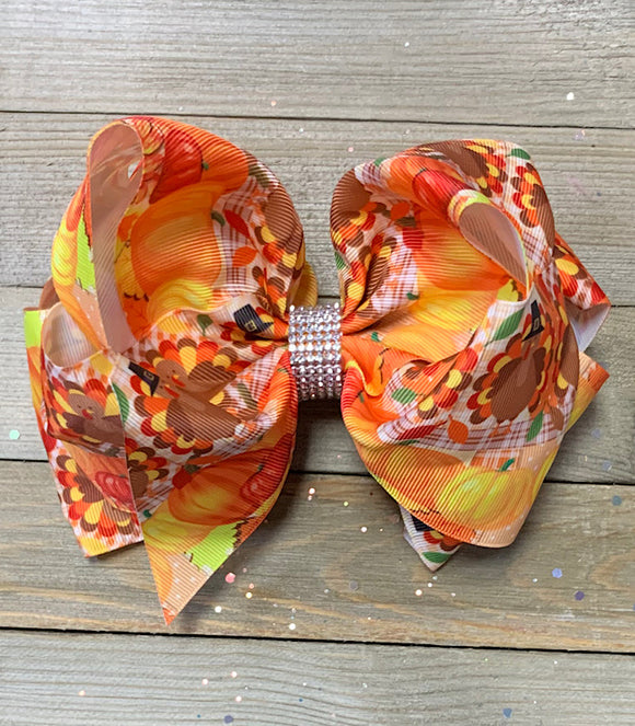THANKSGIVING PRINTED & DOUBLE LAYER HAIR BOW. 7.5