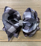 WHITE & BLACK PLAID PRINTED DOUBLE LAYER HAIR BOW. 4PCS/$10.00 BW-DSG-164