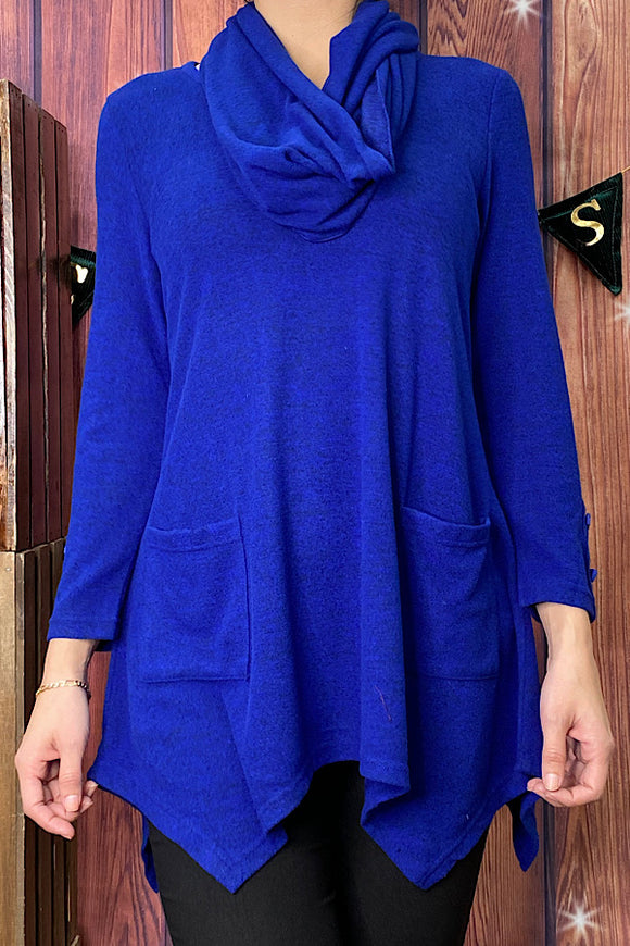 P0146S Royal blue long sleeve top includes scarf