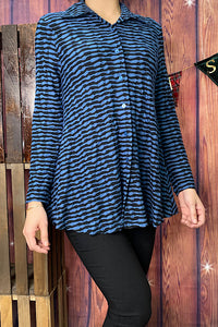 BL24P-BLUE striped button down long sleeve blouse