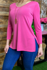PO122S-Pink Solid pink 3/4 sleeve top w/open sides