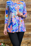 PO129P-JAZZY-BLUE Printed top w open 3/4 sleeves