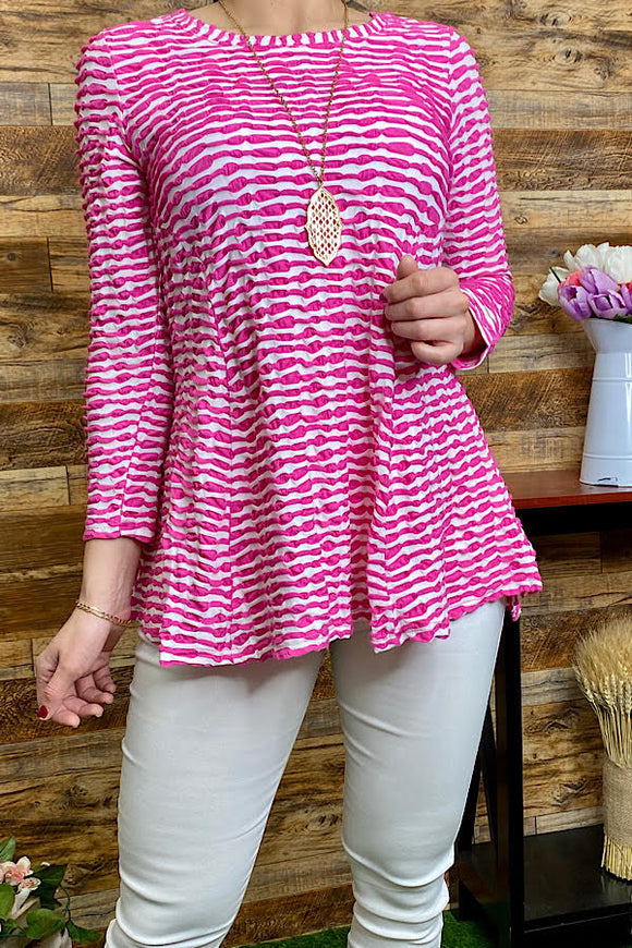PO24P-FUCHSIA Striped 3/4 sleeve top