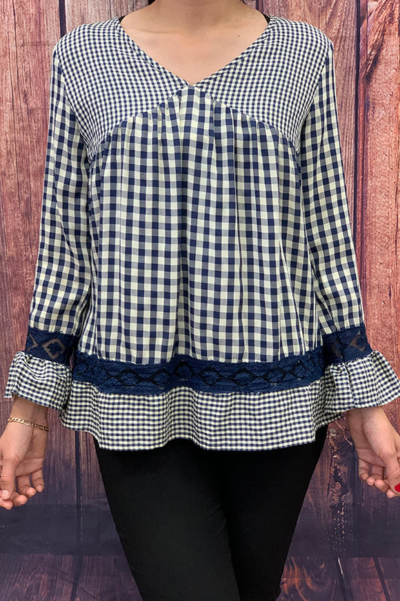 SD6578 Navy blue long sleeve checkered top
