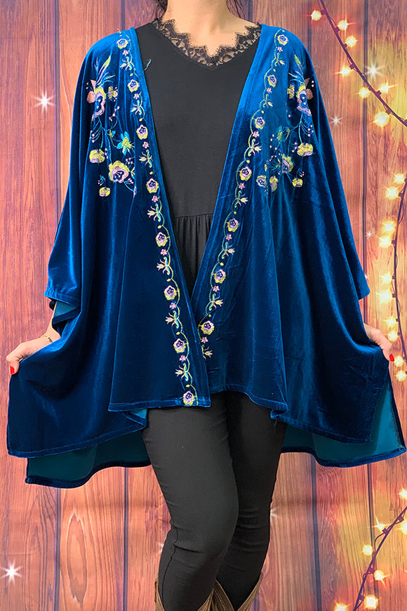YMY3620 blue velvet embroidery cardigan