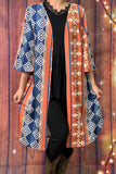 YMY5847 Aztec print with bell sleeve cardigan