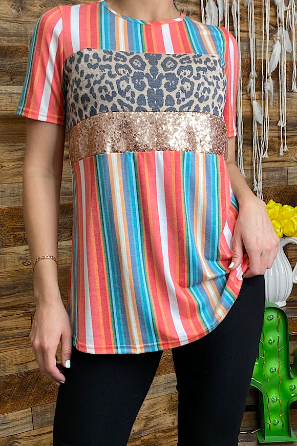 YMY8747 Serape printed top w/leopard & sequin
