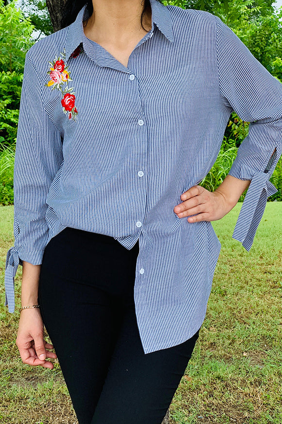YT1016 Strips/floral button down embroidery blouse
