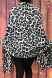 YZ197002 Black and white leopard printed blanket scarf