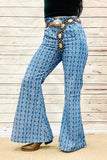 DL0326 Printed denim bell-bottomed pants