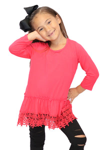 HOT PINK EMBROIDERED TUNIC. T-HX0330K-4