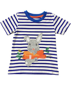 ROYAL BLUE ON WHITE STRIPES PRINTED TOP W/ EASTER RABBIT APPLICATION.