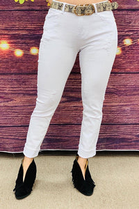 J047-2 long White long distressed woman jeans