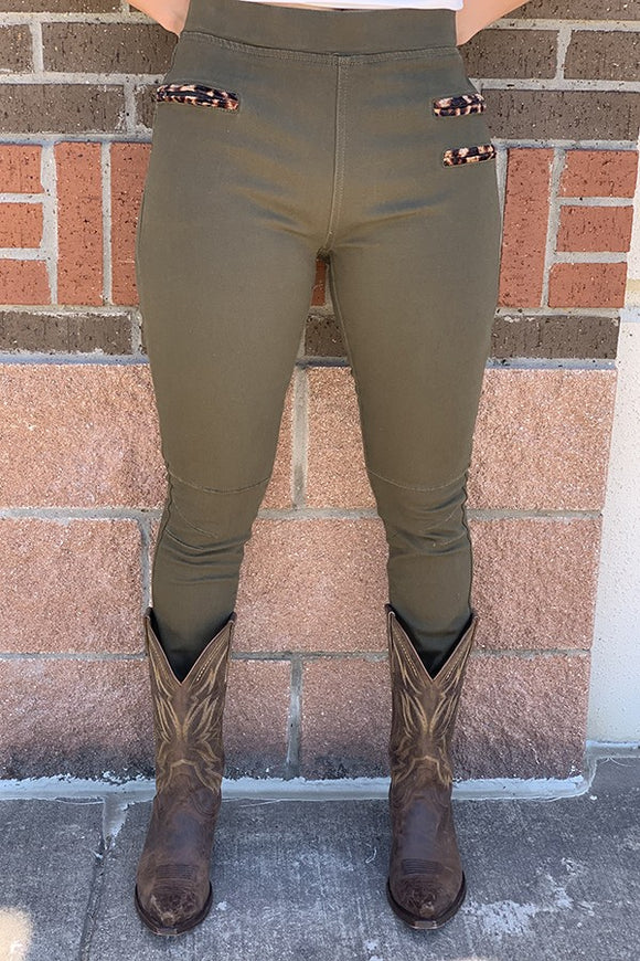 J101A Olive green jeggings w/ front pockets and leopard velvet print