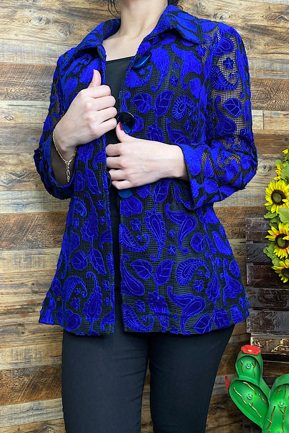 JK48S Royal blue floral blazer