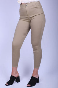 YMY2316-27 BEIGE High waisted solid knit jegging pants in a fitted style for women