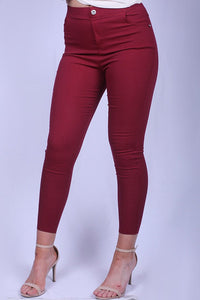 YMY1511-9 Solid pant for women burgundy color