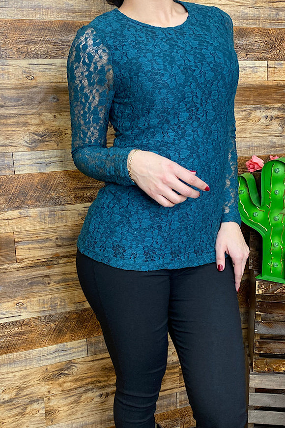 PO79S Teal lace long sleeve top