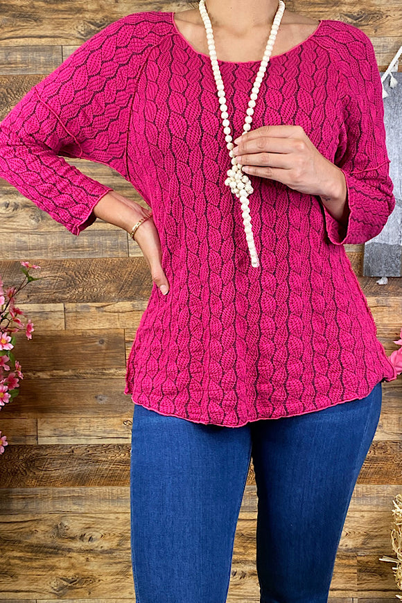 PO163S-Magenta embroidery  3/4 sleeve blouse
